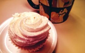Обои пирожное, еда, sweet, macro, чашка, cup, макро