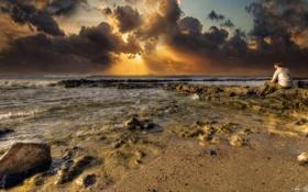 Обои море, небо, облака, пейзаж, природа, побережье, человек