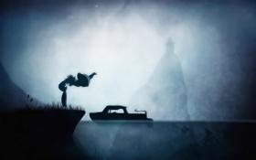 Картинка мальчик, река, Limbo, рыбка поньо, арт, Sosuke, ночь