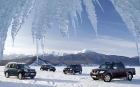 Обои небо, снег, горы, озеро, лёд, сосульки, Байкал