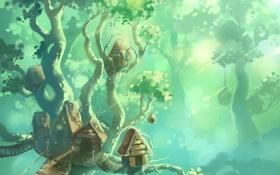 Обои лес, дерево, дома, арт, домики, гигантское