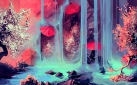 Обои зонты, камни, река, водопад, арт, дерево