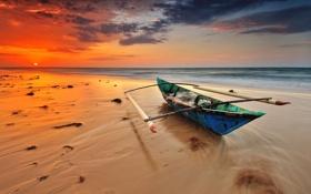 Обои море, волны, облака, восход, горизонт, каноэ, оранжевое небо