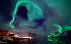 Картинка зима, небо, острова, звезды, свет, снег, северное сияние