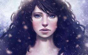 Обои глаза, девушка, снег
