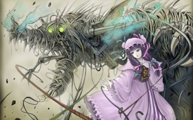 Обои магия, аниме, девочка, книга
