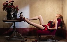 Картинка девушка, цветы, красный, стол, ноги, модель, розы