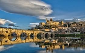 Картинка пейзаж, мост, город, река