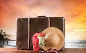 Картинка закат, шляпа, чемодан, summer, beach, vacation, travel