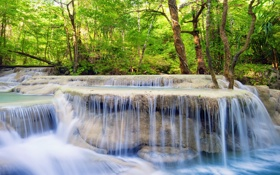 Обои лес, река, водопад, forest, river, landscape, waterfall