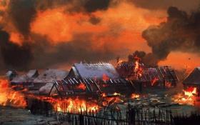 Обои пожар, деревня, Ведьмак, The Witcher 3: Wild Hunt