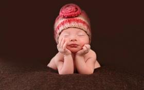 Обои сон, ребёнок, шапочка, младенец