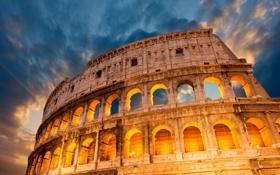 Картинка небо, свет, тучи, вечер, Рим, Колизей, Италия