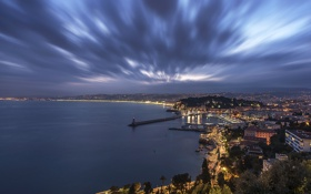 Картинка море, ночь, огни, побережье, Франция, маяк, панорама
