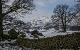 Картинка камни, деревья, зима, горы, снег, небо, забор