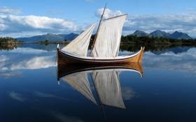 Картинка облака, река, небо, парус. отражение, горы, вода, лодка
