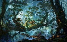 Обои лес, деревья, королевство, elf kingdom