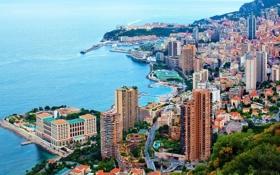 Обои дома, порт, улицы, Монако, причалы, Монте Карло, Лигурийское море