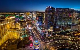 Обои дорога, огни, улица, вечер, Лас-Вегас, USA, night