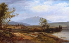 Картинка дорога, небо, облака, пейзаж, горы, река, люди