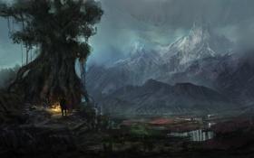 Обои горы, дерево, огонь, человек, вечер, арт, by k04sk