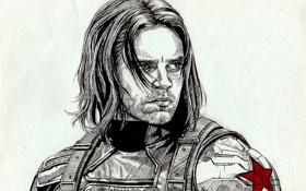 Картинка мужчина, art, Captain America: The Winter Soldier, Sebastian Stan, winter soldier, James Barnes