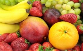 Картинка ягоды, апельсин, еда, клубника, виноград, бананы, фрукты