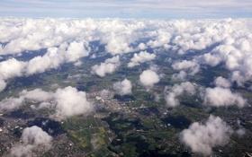 Обои облака, дома, вид сверху