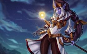 Картинка девушка, ночь, магия, арт, League of Legends, Celestine Soraka