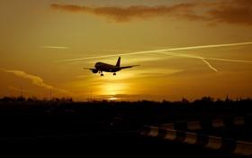 Обои авиация, закат, самолёт