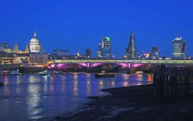 Картинка ночь, собор, огни, река Темза, Лондон, Англия, дома