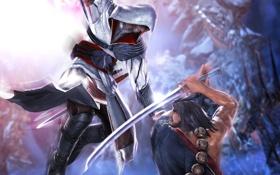 Картинка меч, битва, бойцы, Катана, Эцио Аудиторе да Фиренце, Ezio Auditore da Firenze, Mitsurugi