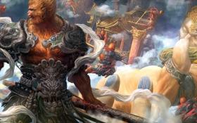 Обои оружие, азия, рука, войны, арт, храм, обезьяны