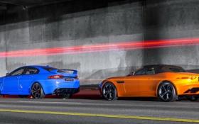 Картинка родстер, седан, blue, суперкары, orange, Jaguars