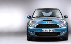 Картинка Авто, Синий, Машина, Решетка, Фары, Mini Cooper, передок