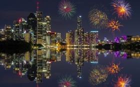 Обои ночь, Австралия, огни, салют, фейерверк, дома, отражение