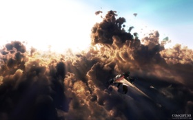Обои небо, облака, корабли