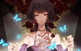 Картинка девушка, бабочки, цветы, шар, розы, аниме, арт