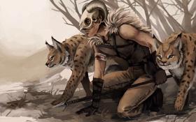 Картинка череп, хищник, маска, арт, рога, копье, охота