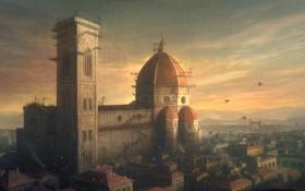 Обои птицы, город, стройка, италия, флоренция, санта мария дель фьоре, italy