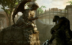 Картинка солдат, мужчина, статуя, Gears of War 3