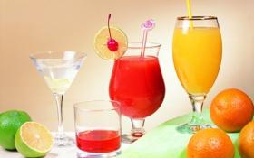 Обои бокалы, лайм, апельсин, напиток, сок