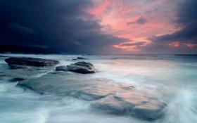 Обои море, небо, свет, тучи, камни, корабли