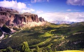 Обои лес, небо, облака, горы, Италия, Доломитовые Альпы
