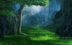 Картинка трава, горы, тучи, дерево, поляна, водопады