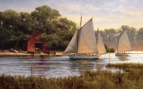 Обои парус, река, Don Demers, By The Old Boat House, озеро, лодки, живопись