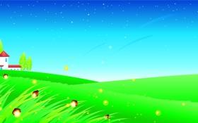 Обои трава, деревья, бабочки, светлячки, дома, звёзды