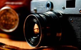 Обои макро, ретро, Фотоаппарат, объектив, линза, ФЭД