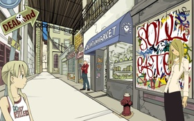 Обои улица, девочки, аниме, парень, soul eater, магазин