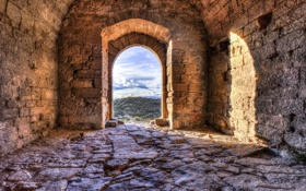 Обои stones, construction, ruins, door